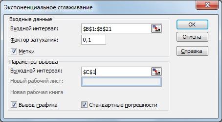 Прогнозирование экспоненциальным методом в Excel